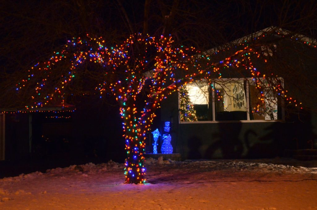 Christmas lights in Wilkie SK